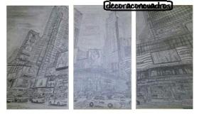 """Tríptico Nueva York: centro"". Dibujo a carboncillo sobre papel. 35x20cm aprox. 40€"